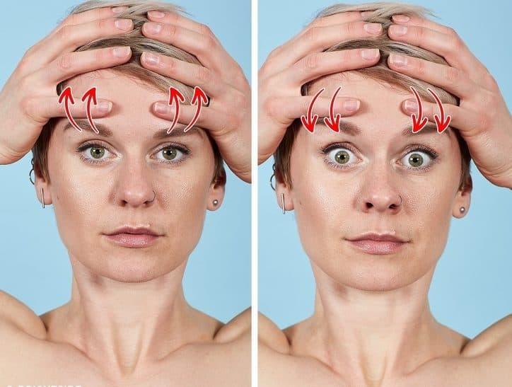 Bài tập massage trán và lông mày